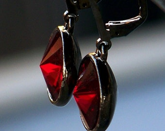 Sale- Ruby Red Crystal and Antique Silver Leverback Earrings