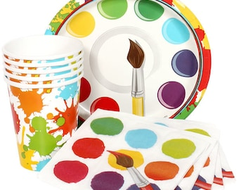 45 Pc Set Colorful Art - Painting Party Theme Tableware - Includes Table Cover & Balloons!