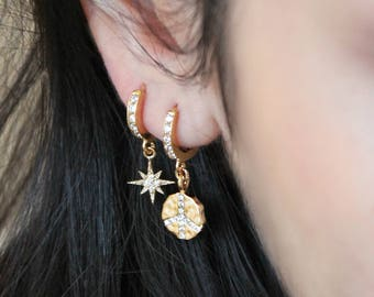 Gold Hoops, small cubic zirconia hoop earrings with charms: starburst, cross, cz bar, peace sign, hammered coin, cz diamonds, potionumber9