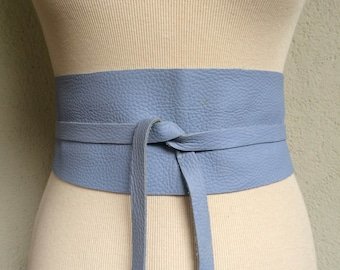 Handmade Light Blue Sky Lilac Italian Real Leather Obi Belt - Made to Order