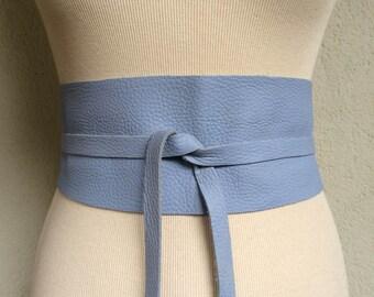 Handmade Light Blue Sky Lilac Italian Real Leather Obi Belt - Made to Order