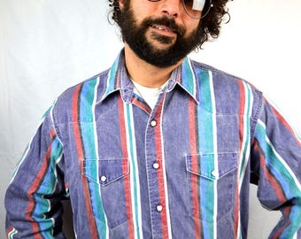 Vintage Rainbow Southwest Striped Pearl Snap Western Wrangler Shirt - XL