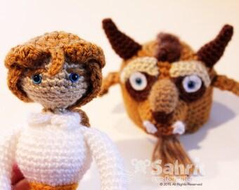 PATTERN Instant Download Human Beast Adam Beauty and the Beast Crochet Doll Amigurumi Disney Prince 2in1