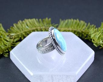 Floral Larimar Ring // Larimar Jewelry // Sterling Silver // Village Silversmith