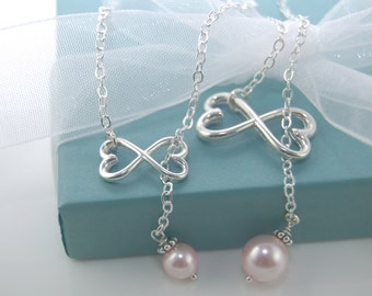 "Mother Daughter infinity necklace set, Heart infinity necklaces, ""Love Forever"""