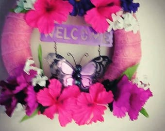 Floral Welcome Straw Wreath