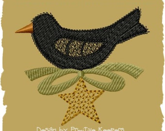 Primitive Machine Embroidery Design-Crow Spring Ornie-- (4x4)-INSTANT DOWNLOAD