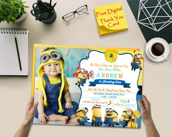 Minions, Minions Invitation, Minions Party Invitation, Minions Birthday Invitation, Thank You Card, Digital File Download, Minions Party