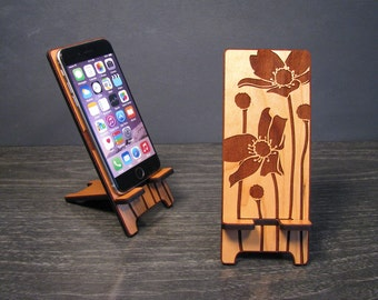 Wood Floral Phone Stand - 5 sizes works with most phones - Custom fit for iPhone 4, iPhone 5, iPhone 6 and iPhone 6 Plus, Samsung Galaxy S5