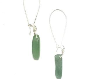 Long kidney earwires, earrings, green aventurine dangles