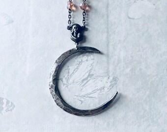 Crescent Moon Necklace Sterling Silver Necklace Sterling Silver Moon Antique Rosary Necklace Crystal Necklace  Daniellerosebean