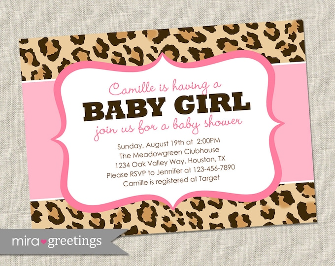 Pink Leopard Baby Shower Invitation - Printable Digital File