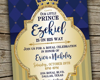 Prince Baby Shower Invitation/ Royal Celebration Invitation/ Royal Baby  Shower/ Boy Baby Shower