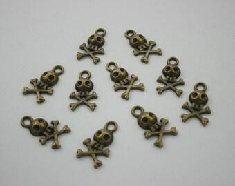 10 pcs Zinc Antique Brass Cute Cross Bone Charms Pendants Decorations Findings 12 mm. BCSK