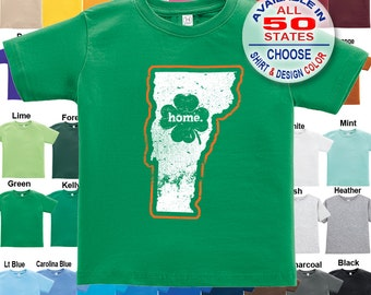 Vermont Home State Irish Shamrock T-Shirt - Boys / Girls / Infant / Toddler / Youth sizes
