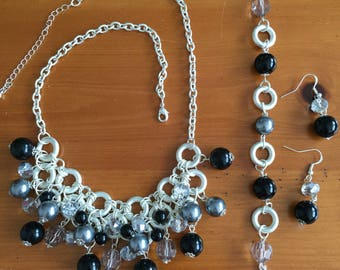 Black and Silver  Necklace 19 to 22 inch -Bracelet 7 inch and Earrings