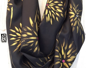 Hand Painted Silk Scarf, Eternity Scarf, Handmade Scarf, Black Silk Scarf, Gold Scarf, Kimono Golden Florian, Takuyo, Made to order