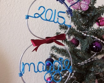 Snowman Ornament / Wire Ornament/ Christmas Ornament / Holiday Ornament/ Holiday Gift / Couples Gift