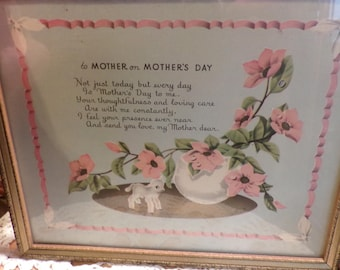 To Mother on Mother's Day, 1940's Mother's Day poem, 1940's prop, Vintage Framed Mother's Day framed poem,  Mother's day, Morethebuckles