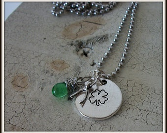 St Patrick's Day Reversible Shamrock & Good Luck Charm Necklace