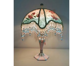 Vintage Table Lamp With Victorian Lamp Shade  My Coraline # 0421