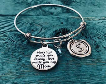 Marriage made you family, love made you my Mom, Step Mom Jewelry, Mother in law Gift, Mother of the Groom, Charm Bracelet, Silver Bracelet