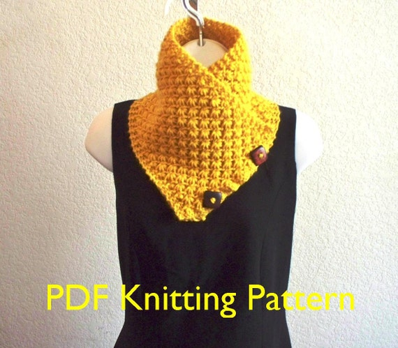 Lotus Flower Button Scarf Pdf Knitting Pattern Lily Worsted
