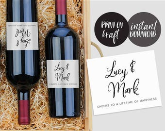 Wedding Wine Labels Editable pdf Template, INSTANT DOWNLOAD, Wedding Wine Bottle Labels, Wine Label Printable Wine Label Template - Juliette