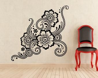Mehndi Wall Decal Indian Floral Pattern Vinyl Sticker Home Interior Murals Art Decoration (44u)