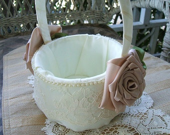 Wedding Flower Girl Basket Ivory & Champagne Handmade ROSE Flowergirl in Ivory or White