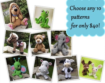 Choose Any 10 Amigurumi Crochet Patterns