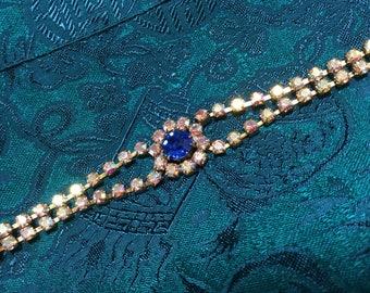 Czech Blue and Aurora Borealis Rhinestone Bracelet