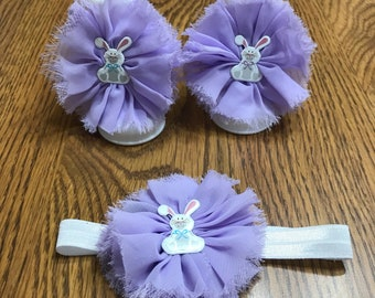 Easter bunny barefoot sandals and matching baby headband