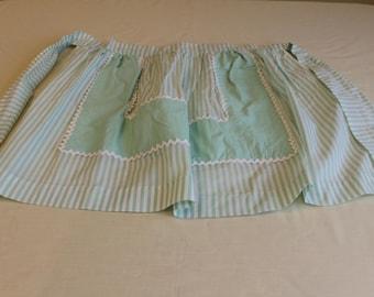 Apron Vintage Half Apron Green and White Stripes