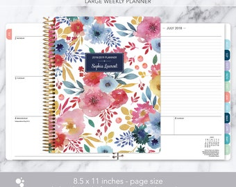 8.5x11 weekly planner 2018 2019   choose your start month   12 month calendar   LARGE WEEKLY PLANNER   white pink blue watercolor floral