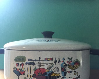 Vintage 1950s Enamelware Casserole Pan with Lid In The Style of George Briard