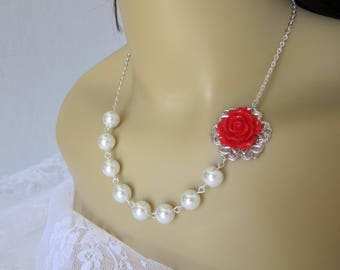 Red and White Flower Bridesmaid Necklace Maid of Honor Red Wedding Bridal Gift