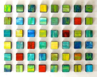 Wood Wall Art | Painting on Wood | Modern Art | Colorful Art | 3D Wall Sculpture | Rosemary Pierce Modern Art