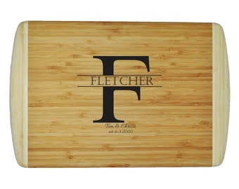 """Personalized Two-Tone Bamboo Cutting Board - Wedding - Anniversary - Special Occasion  - 18""""x12"""" - 3/4"""" Thick - Eco friendly - Renewable"""