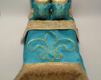 DollHouse Bed/Upholstered Bed/Bed For Barbie/Kit Furniture/Furniture For Doll/Furniture For Barbie/DollHouse Furniture/BedRoom Set/Doll Sofa