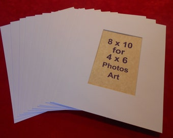 Photo Mats 8 x 10 for 4x6 Photos White Mats with regular core Quantity (20)
