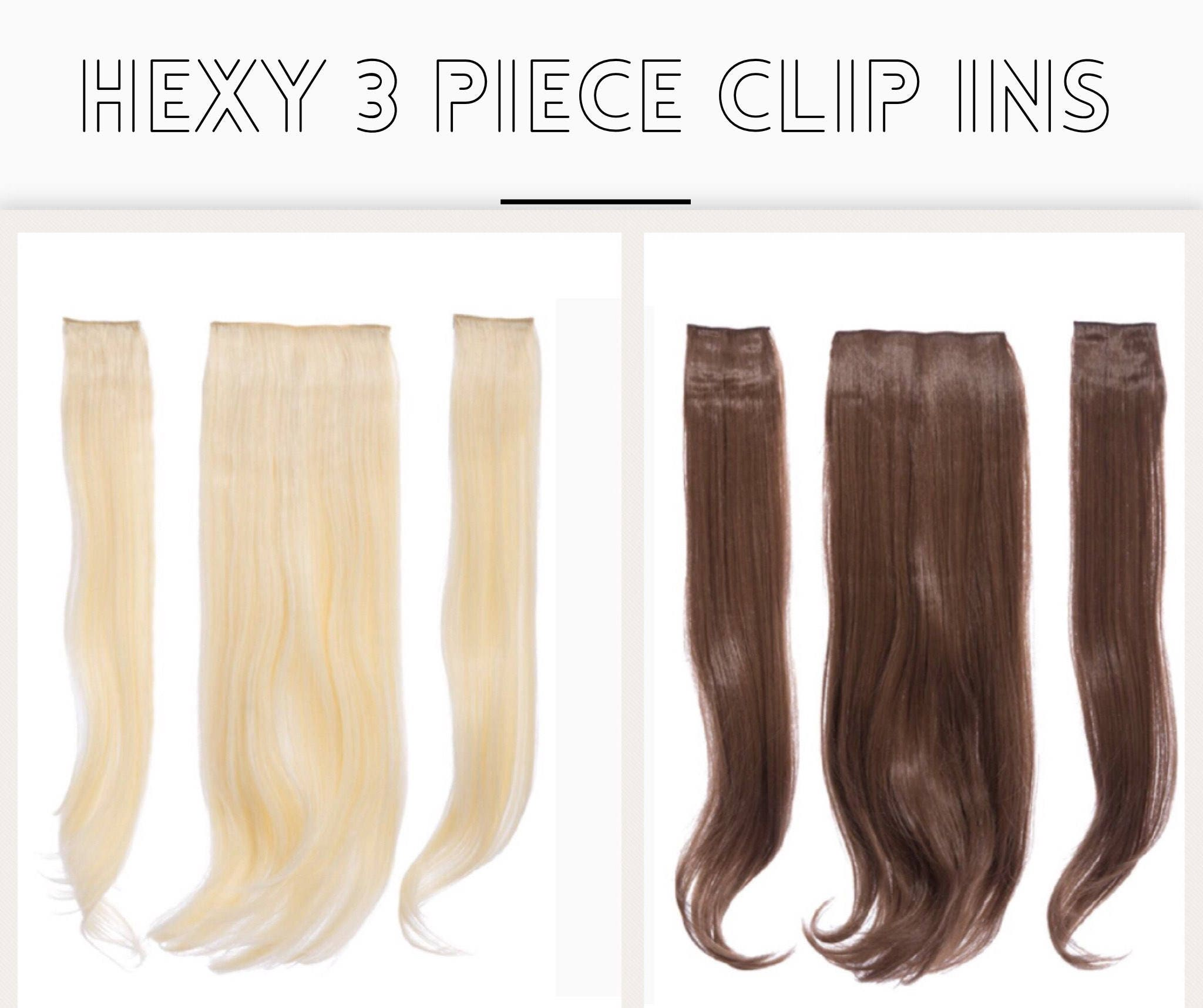 Clip in hair extensions 3 piece synthetic layered Hexy