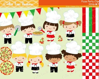 Chef Clipart, Pizza Party Clipart, Little Chef Clip art and background / INSTANT DOWNLOAD  (CG126)