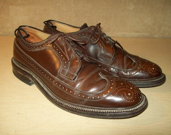 Vintage~Brogue~Johnston and Murphy~J and M~Leather~Brown~Long Wingtip~Aristocraft~10.5 C~Oxford~Shoes~ Mens~MCM~Mid Century~