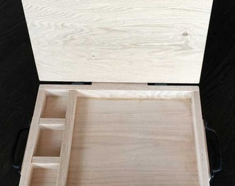 Solid oak custom made board game storage box. With handles, hinges, latch. Multiple compartments. Contact us for your made to order box.