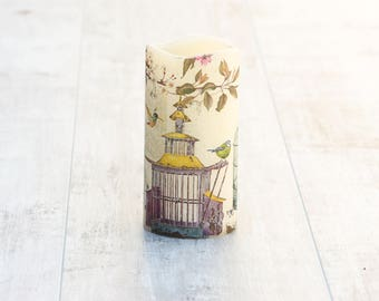 Bird Cage Flameless Pillar Candle, Bird Lovers Candle Gift, Bird Cage Print, Teacher Gift, Birthday Gift For Her, Whimsical Home Decor Gift
