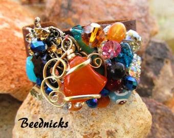 Treasure Trove  Jeweled Leather Cuff