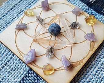 Crystal Grid - Wooden - Seed Of Life