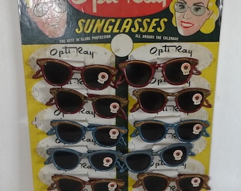 50's Sunglass Display Wild Opti Ray Old Store Display with 12 Sunglasses New Old Stock Unused