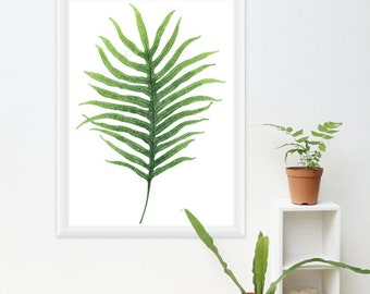 Fern Watercolor Print - Any ONE Fern Botanical Art, Fern Painting / 8x10 OR 8x11 Minimalist Print, Tropical Decor